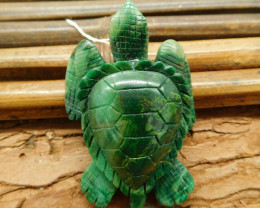 African jade carved turtle pendant animal craft (G1187)