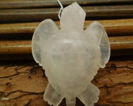 Rose quartz carved sea turtle pendant craft (G1188)