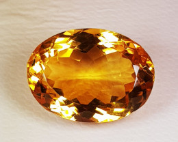 13.96 ct Top Quality Gem Lovely Oval Cut Top Luster Natural Citrine
