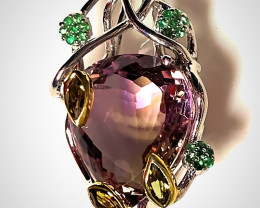 'Imperial Forest' Ametrine Tourmaline Tsavorite Gold and Sterling Pendant