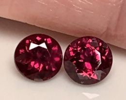 CRIMSON PAIR OF RHODOLITE GARNETS 6.0MM NO RESERVE