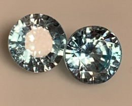 A Pair of Sparkling Blue Zircon gems - 5.50mm No reserve ~