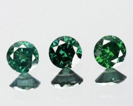 ~SET~ 0.14 Cts Natural Green Diamond 3 Pcs Round Africa