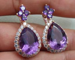 (8) Wonderful Nat 41.59tcw  Top Intense Purple Amethyst and CZ  Earrings