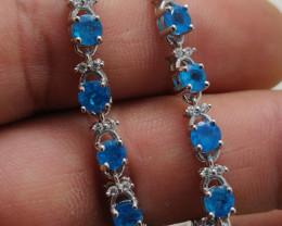 (26) Gorgeous Nat 38.52 tcw. Top Neon Blue Apatite Bracelet