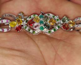 (12) Luxurious Nat 104 tcw.  Sapphire, Ruby, Chrome Diopside & Emerald Brac