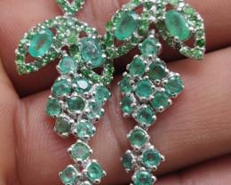 (11) Astounding Nat 36.29tcw. Brazilian Emerald Tsavorite Earrings