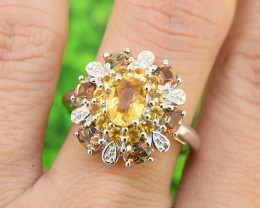 Citrine & Andalusite  925 Sterling Silver Ring SIZE  8