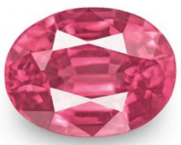 IGI Certified Burma Spinel, 0.73 Carats, Lustrous Intense Pink Oval