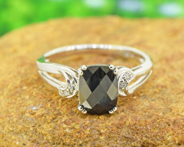 Natural Black Sapphire 925 Sterling Silver Ring SIZE 6