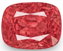 IGI Certified Burma Spinel, 1.42 Carats, Reddish Orange Cushion