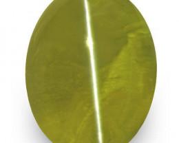 IGI Certified Sri Lanka Chrysoberyl Cat's Eye, 1.45 Carats, Intense Green
