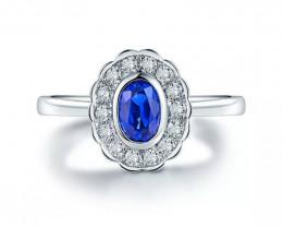 Vintage blue sapphire engagement ring,Ceylon sapphire ring,18k white gold c