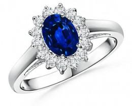 Natural blue sapphire 18k white gold engagement ring, Ceylon sapphire ring,