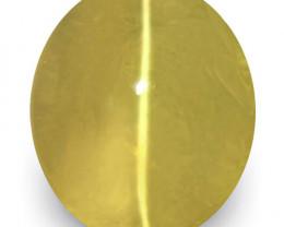 IGI Certified Sri Lanka Chrysoberyl Cat's Eye, 5.01 Carats, Deep Yellow