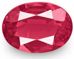 IGI Certified Burma Spinel, 0.74 Carats, Pinkish Orangish Red Oval