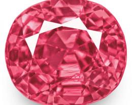 IGI Certified Burma Spinel, 0.88 Carats, Fiery Pink Oval