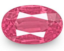 IGI Certified Burma Spinel, 0.84 Carats, Vivid Pink Oval