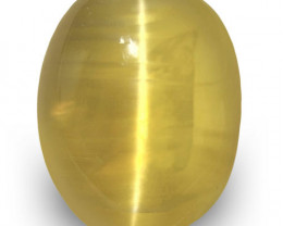IGI Certified Sri Lanka Chrysoberyl Cat's Eye, 2.61 Carats, Golden Yellow
