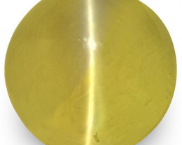 IGI Certified Sri Lanka Chrysoberyl Cat's Eye, 1.56 Carats, Deep Yellow