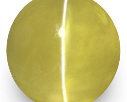 IGI Certified Sri Lanka Chrysoberyl Cat's Eye, 2.64 Carats, Deep Yellow