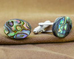 Genuine Abalone / Paua Oval  Shell Cuff links