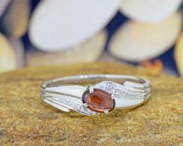 N/R Natural Garnet 925 Sterling Silver Ring (SSR0547)