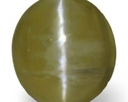 Madagascar Chrysoberyl Cat's Eye, 0.97 Carats, Deep Olive Green Oval