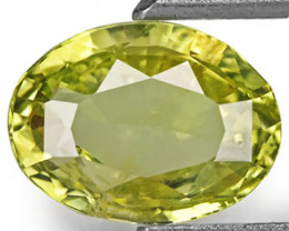 Sri Lanka Chrysoberyl, 1.51 Carats, Yellowish Green Oval