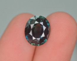Gil Certified 5.35 ct Natural Blue/Green Bi Color Untreated Madagascar Sapp