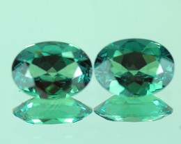 1.35 ct 7X5 MM BLUISH GREEN OVAL SHAPE NATURAL ALEXANDRITE PAIR