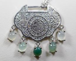 Natural Grade A Jadeite Jade Pendant&925 Silver Necklace
