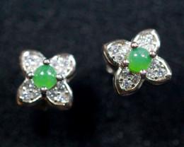 Natural Jadeite Jade 925 Silver Earring