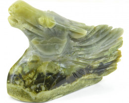 Genuine 1200.00 Cts Forest Green Jasper Horse Head
