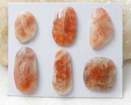 65Ct Natural Sunstone Cabochons,6 PCS NATURAL Sunstone D843
