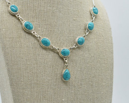 TURQUOISE NECKLACE NATURAL GEM 925 STERLING SILVER JN8