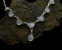 RAINBOW MOONSTONE NECKLACE NATURAL GEM 925 STERLING SILVER JN10