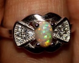 Ethiopian Welo Fire Opal Silver Ring Size US (5) 0141