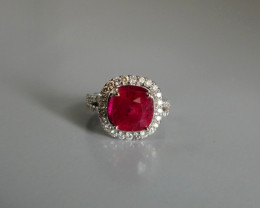 7ct Red Ruby Ring Unheated Certified