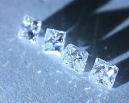 0.15 ctw D-F-G 4 princess cut melee diamonds