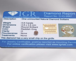 IGR Certificate Natural Redish Gray Diamond 0.60 ct
