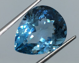 15.21 Carat VVS Topaz Swiss Blue Pear Amazing Color and Polish !