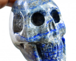 Genuine 848.00 Cts Blue Lapis Lazuli Carved Human Skull