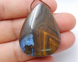 Natural Boulder opal Drilled Teardrop Gemstone Pendant Bead, 35x27x10mm H83