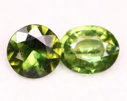 Sapphire 1.54Ct Natural Green Sapphire Pair C2208