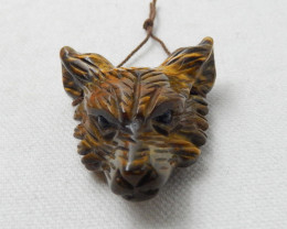 137cts Hand Carved Wolf Pendant ,Tiger Eyes Wolf ,Wolf Head Pendant F228