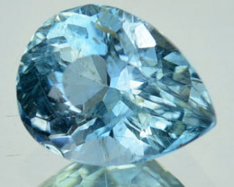 0.79 Cts Natural Sea Blue Aquamarine Pear Cut Brazil Gem