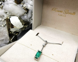 0,80ct Colombian Emerald 18k Solid Gold Necklace Colombian Emerald Colombia