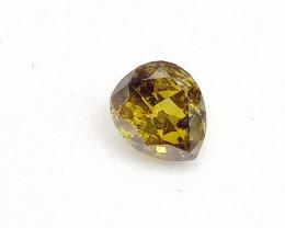 0.38ct Fancy Deep  Brown Green   Diamond , 100% Natural Untreate