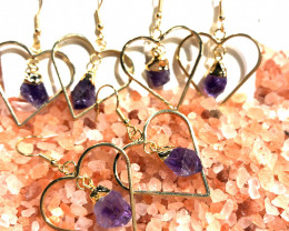 x3 Raw Amethyst Gemstone Heart Shape Earrings BR 433